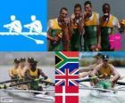 Mannen lichtgewicht vier-zonder-vier, Zuid-Afrika, Verenigd Koninkrijk en Denemarken - Londen 2012 - roeien podium
