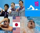 Zwemmen, mannen 200 meter rugslag podium, Tyler Clary (Verenigde Staten), Ryosuke Irie (Japan) en Ryan Lochte (Verenigde Staten) - Londen 2012-