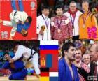 Podium Judo mannen - 100 kg, Tagir Khaibulaev (Rusland), Naidan Naidan (Mongolië) en Dimitri Peters (Duitsland), Henk Grol (Nederland) - Londen 2012-