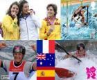 Kanovaren K1 vrouw podium, Émilie Fer (Frankrijk), Jessica Fox (Australië) en Maialen Chourraut (Spanje) - Londen 2012-