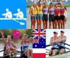 Podium vrouwen dubbel-twee Roeien, Anna Watkins, Katherine Grainger (Verenigd Koninkrijk), Kim Crow, Brooke Pratley (Australië) en Magdalena Fularczyk, Julia Michalska (Polen) - Londen 2012-
