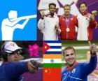 Snelle shot gun podium in mannen 25 kilometer brand, Leuris Pupo (Cuba), Vijay Kumar (India) en Ding Feng (China) - Londen 2012-