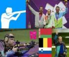 Schieten mannen, 50 meter geweer liggend mannen podium, Sergei Martynov (Wit-Rusland), Lionel Cox (België) en Rajmond Debevec (Slovenië) - Londen 2012-