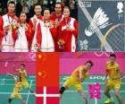 Badminton gemengddubbel podium, Zhang Nan en Zhao Yunlei (China), Xu Chen, Ma Jin (China) en Joachim Fischer/Christinna Pedersen (Denemarken) - Londen 2012 -