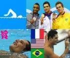 Podium zwemmen mannen 50 meter vrije slag, Florent Manaudou (Frankrijk), Cullen Jones (Verenigde Staten) en César Cielo (Brazilië) - Londen 2012-
