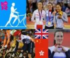 Vrouwen, Keirin track fietsen podium, Victoria Pendleton (Verenigd Koninkrijk), Guo Shuang (China) en Lee Wai-Sze (Hong Kong) - Londen 2012-