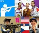 Podium schieten vrouwen, 50 meter geweer drie posities, Jamie Lynn Gray (Verenigde Staten), Ivana Maksimović (Servië) en Adela Sykorova (Tsjechië) - Londen 2012-