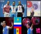 Mannen 94 kg Gewichtheffen podium, Ilya Iljin (Kazachstan), Alexandr Ivanov (Rusland) en Anatoly Ciricu (Moldavië) - Londen 2012-