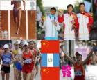Podium Atletiek, mannen 20 km snelwandelen, Ding Chen (China), Erick Barrondo (Guatemala) en Wang Zhen (China) - Londen 2012-
