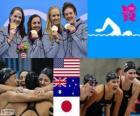 Podium zwemmen, vrouwen 4 × 100 meter wisselslag, Verenigde Staten, Australië en Japan, Londen 2012