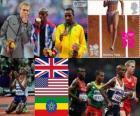 Atletiek-Mannen 10.000 m podium, Mohamed Farah (Verenigd Koninkrijk), Galen Rupp (Verenigde Staten) en Tariku Bekele (Ethiopië), Londen 2012