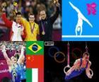 Podium artistieke gymnastiek ringen, Arthur Nabarrete Zanetti (Brazilië), Chen Yibing (China) en Matteo Morandi (Italië), Londen 2012