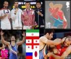 Podium mannen Grieks-Romeins tot 60 kg, Omid Noroozi (Iran), Revaz Lashji (Georgia), A. Kuramagomedov (Rusland) en Ryutaro Matsumoto (Japan), Londen 2012