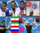 Podium Gewichtheffen meer dan 105 kg, Behdad Salimikordasiabi, Sajjad Anoushiravani (Iran) en Ruslan Albegov (Rusland) - Londen 2012-