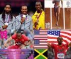 Podium Atletiek Mannen 110 meter horden, Aries Merritt, Jason Richardson (Verenigde Staten) en Hansle Parchment (Jamaica), Londen 2012