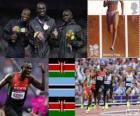 Podium Atletiek 800 m mannen, David Rudisha (Kenia), Nijel Amos (Botswana) en Timothy Kitum (Kenia), Londen 2012