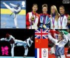 Podium Taekwondo - 57 kg vrouwen, Jade Jones (Verenigd Koninkrijk), Hou Yuzhuo (China), Marlene Harnois (Frankrijk) en Li-Cheng Tseng (Chinees Taipei), Londen 2012