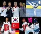 Podium Taekwondo vrouwen -67 kg, Hwang Kyung-Seon (Zuid Korea), Nur Tatar (Turkije), Paige McPherson (Verenigde Staten) en Helena Fromm (Duitsland), Londen 2012