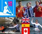Mannen kano sprint K1 200 m podium, Edward McKeever (Verenigd Koninkrijk), Saúl Craviotto (Spanje) en Mark de Jonge (Canada), Londen 2012
