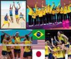 Vrouwen volleybal podium, Brazilië, Verenigde Staten en Japan, Londen 2012