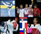 Podium taekwondo vrouwen meer dan 67 kg, Milica Mandić (Servië), Anne-Caroline Graffe (Frankrijk), Anastasia Baryshnikova (Rusland) en María de el Rosario Espinoza (Mexico) - Londen 2012 -