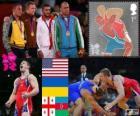 Podium vrije stijl 96 kg mannen, Jake Varner (Verenigde Staten), Valerii Andriitsev (Oekraïne), Giorgi Gogshelidze (Georgië) en Xetag Gazyumov (Azerbeidzjan), Londen 2012