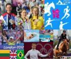 Podium vrouwen moderne vijfkamp, Laura Asadauskaitė (Litouwen), Samantha Murray (Verenigd Koninkrijk) en Yane Marques (Brazilië), Londen 2012