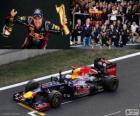 Sebastian Vettel viert de overwinning in de Grand Prix di Corea del sud 2012