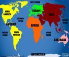 Wereldkaart met continenten en oceanen