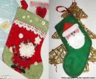 Kerst Sokken versierd met Santa Claus