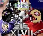 Super Bowl 2013. San Francisco 49ers vs. Baltimore Ravens. Superdome, New Orleans