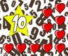 Nummer 10 in een ster met tien harten