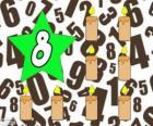 Nummer 8 in een ster met acht kaarsen