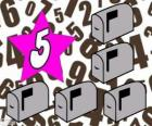 Nummer 5 in een ster met vijf mailboxen