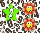 Nummer 2 in een ster met twee bloemen