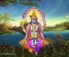 Vishnu, de beschermer god in de Trimurti