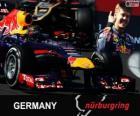 Sebastian Vettel viert zijn overwinning in de Grand Prix Duitsland 2013