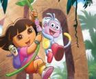 Dora en Boots in één van zijn avonturen