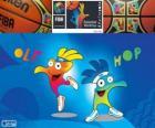 Ole en Hop, mascottes van het Wereldkampioenschap voetbal 2014 FIBA basketbal