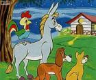 De Bremer stadsmuzikanten: een ezel, een hond, een kat en een haan