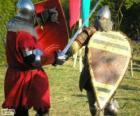 Twee soldaten vechten met zwaarden en schilden