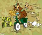 Yogi en Boo-Boo Beer op een motorfiets