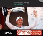 Nico Rosberg viert zijn overwinning in de Grand Prix van Spanje 2015