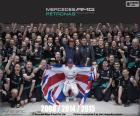 Lewis Hamilton, wereldkampioen 2015 Formule1 met Mercedes. Zijn derde titel 2008, 2014 en 2015