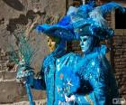 Blauwe kostuums