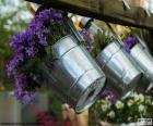 Bloemen in potten metaal