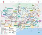 Kaart van de Metro van Barcelona, 184 stations, 11 lijnen met een lengte van meer dan 145 km