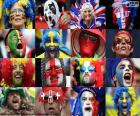 Gezichten van de fans van sommige van de landen die deelnemen aan de UEFA Euro 2016 in Frankrijk