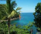 De zee vanaf een tropisch eiland