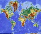Reliëf wereldkaart